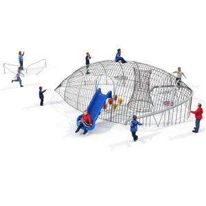 Customized Net Playground Structure with Slide and Swing